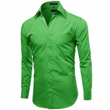 Omega Italy Men's Long Sleeve Green Regular Fit Button Up Dress Shirt - L image 4