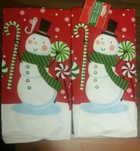 """SET of 2 SAME PRINTED TOWELS (15"""" x 25""""), SNOWMAN on RED by CH - $9.89"""