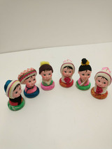 lot of 6 vintage lady decorative pieces display topper 2 inch - $21.39