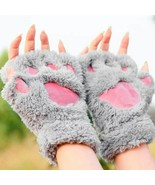 Warmth Fingerless Plush Gloves Fluffy Bearr Claw Cat  Paw Soft Warm Love... - $12.99