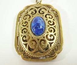 Avon Locket Lapis Blue Cab Filigree Gold Plate Pendant Cable Chain 1970s... - $19.75