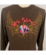 Boys Spiderman Long Sleeve T-Shirt Brown Web Slinger L 12 14 Marvel - $14.84