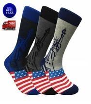 USA LADY LIBERTY America Mens Novelty Socks 3 Pair Bundle FINEFIT - NWT - $19.79