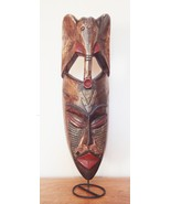 Mask african elephant aboriginal tribal face hand carved wooden folk art 19 inches  1  thumbtall
