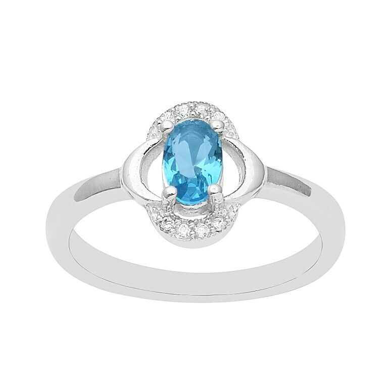 0.700 Swiss Blue Zircon 925 Sterling Silver Solitaire Midi Finger Women Ring