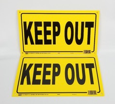 "(Lot of 2) KEEP OUT Sign Yellow High Visibilty 8"" X 14"" USA Made - $12.60"