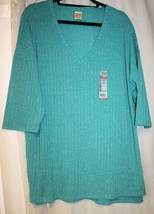 NEW WOMENS PLUS SIZE 2X 18/20 OCEAN BLUE GREEN RIBBED HACCI SWEATER KNIT... - $13.07