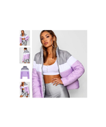 Boohoo Color Block Cropped Puffer Lilac Size US L,UK XL NWT - $39.59