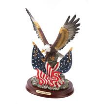 32419B  American Pride Bald Eagle Over Flags Resin Figurine Wood Base - $28.95
