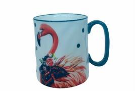 Pink Flamingo Coffee Mug Cup Artisan Tiki bird tropical strawberry feather vtg - $28.98