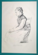 GIRL in Chair Pensive & Old Man with Hat - (1) One 1876 Antique Print A.... - $12.60