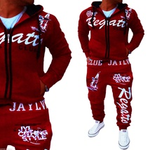 Men Sport Tracksuit Casual Letter Printed Hoodie Coat Leisure Trousers for Male  image 8
