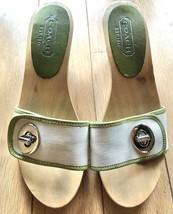 Coach Green Beige Turn Luck Mid Height Wooden Clogs Sandals Sz 5.5 - $17.81