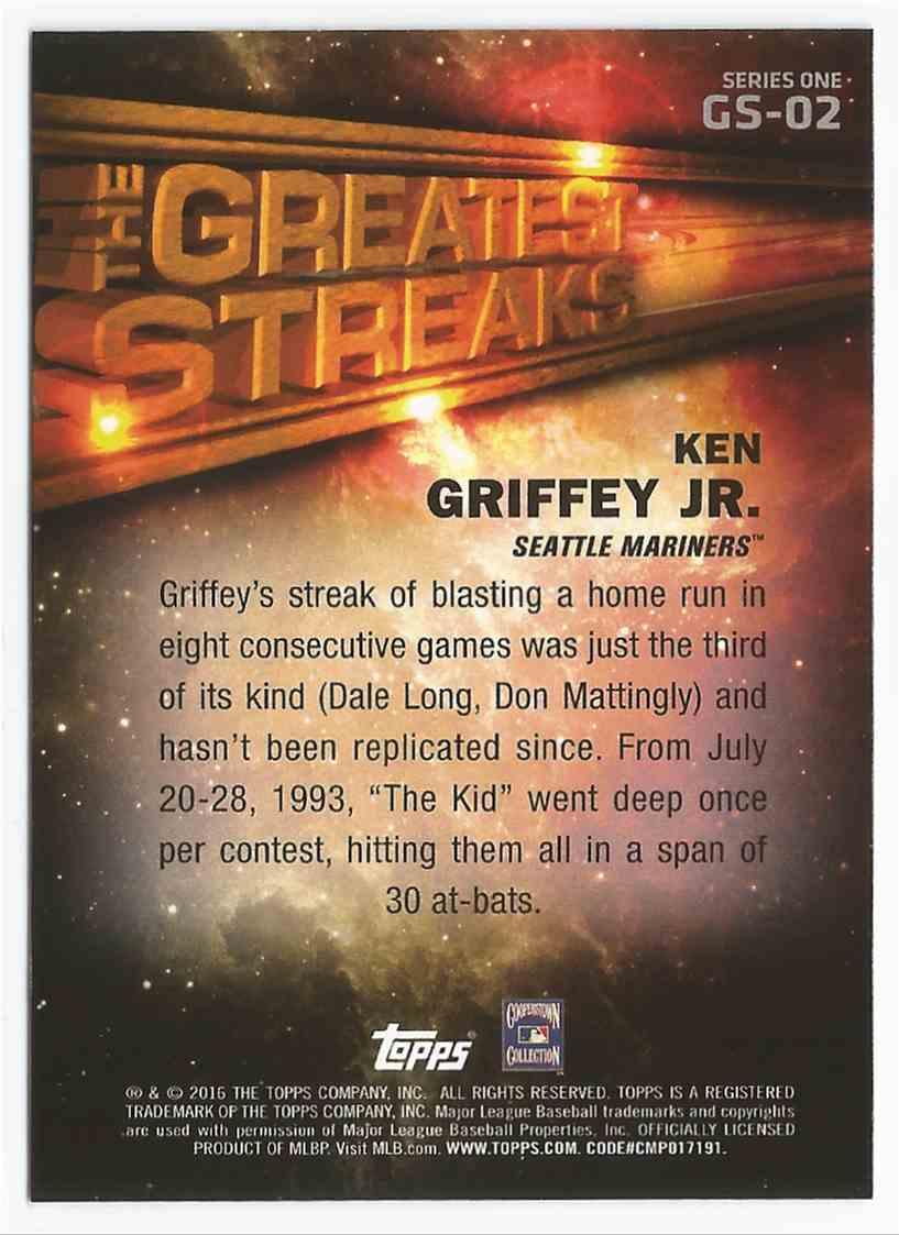 2016 Topps Ken Griffey, JR. - Greatest Streaks - Seattle Mariners - Mint #GS-02