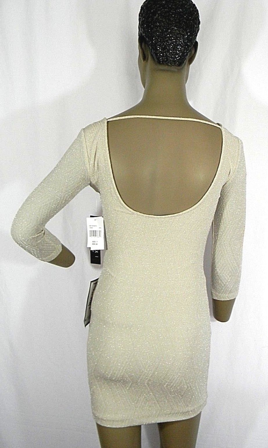 Trixxi Size 0 Mini Dress Juniors Metallic Open-Back Bodycon Dress Cream NEW $59