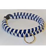 "Paracord 550 Dog Collar Dark Blue & White Fish Tail Design 12 1/2"" Black... - $15.00"