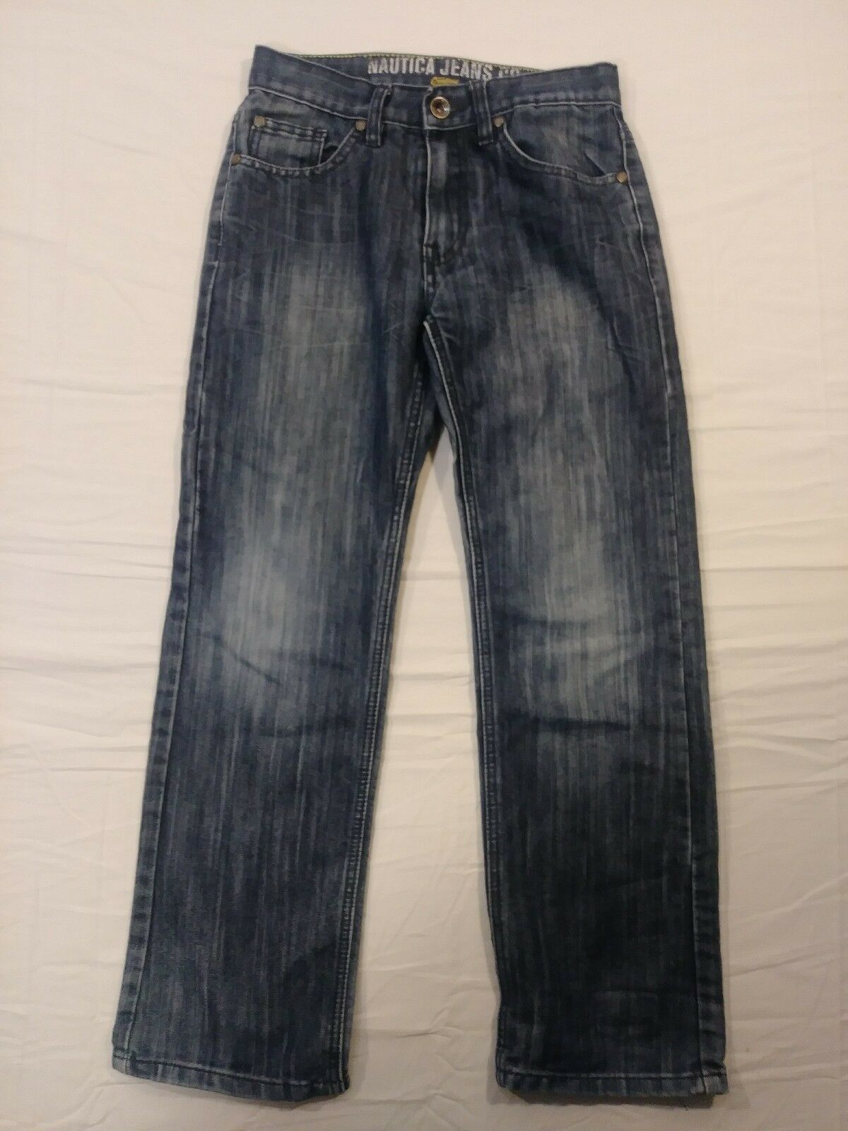 Primary image for Nautica Boys Size 12 Mid Wash Blue Denim 5 Pocket Straight Leg Slim Jeans (#8)
