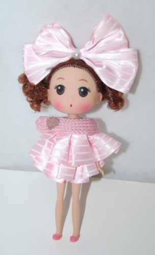Key Chain Doll With Pink White Stripe Dress Matching Hair Bow Curly Auburn Hair