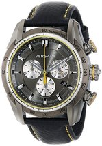Versace VDB020014 V-Ray Black Leather Strap Men's Watch - $2,586.31
