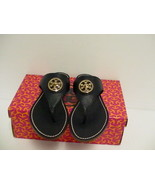 Tory burch woman's navy slippers Selma flat thong tumbled leather size 5... - $198.05