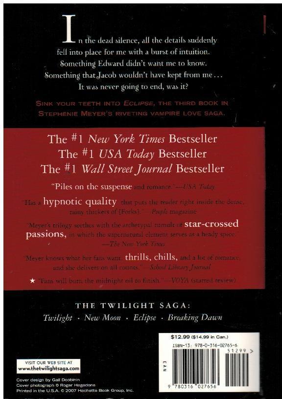 Eclipse by Stephenie Meyer Twilight Series Book 3 Paperback