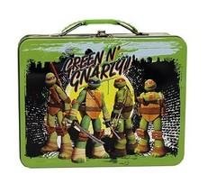 Teenage Mutant Ninja Turtles Green Gnarly! Large Carry All Tin Tote Lunc... - $9.70
