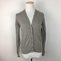 LOFT Ann Taylor Women's Light Gray Beaded Cardigan Sweater Size Small - $14.84