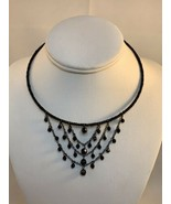Vintage Black Beaded Memory Wire Collar Chandelier Necklace (1897) - $15.00