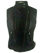 FOREVER 21 BLACK FAUX LEATHER VEST SLEEVELESS MOTORCYCLE SIZE SMALL L - $29.65