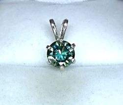 Fabulous Turquoise Moissanite /Sterling Silver Pendant from KT Elegant Jewelry - $99.95