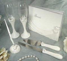 DLusso Designs B4233 4 Piece Bridal Accessory Set. Guest Book, Toasting ... - $46.07
