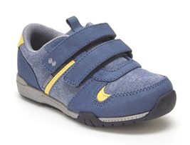 Surprize by Stride Rite Boys Toddler Luke Denim Blue Yellow Sneakers Shoes NWT