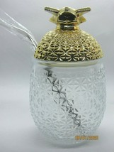 Embossed Glass Gold Top Pineapple Tumbler With Stainless Steel Straw 20oz New - $24.72