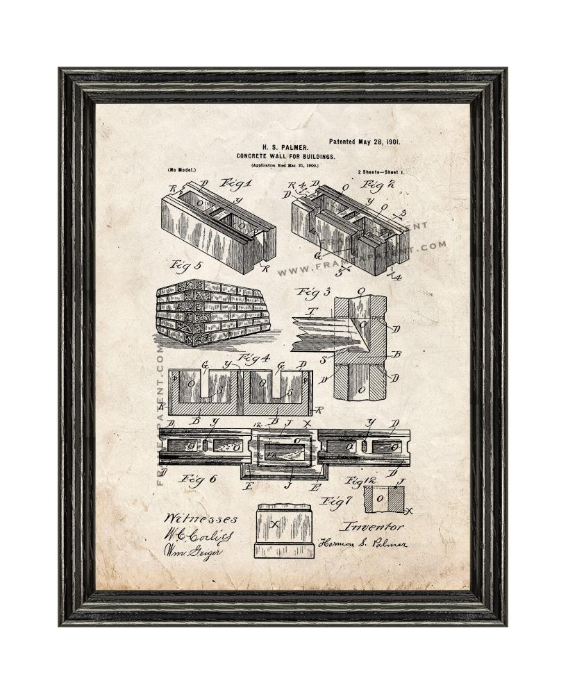 Concrete Wall for Buildings Patent Print Old Look with Black Wood Frame - $24.95 - $84.95