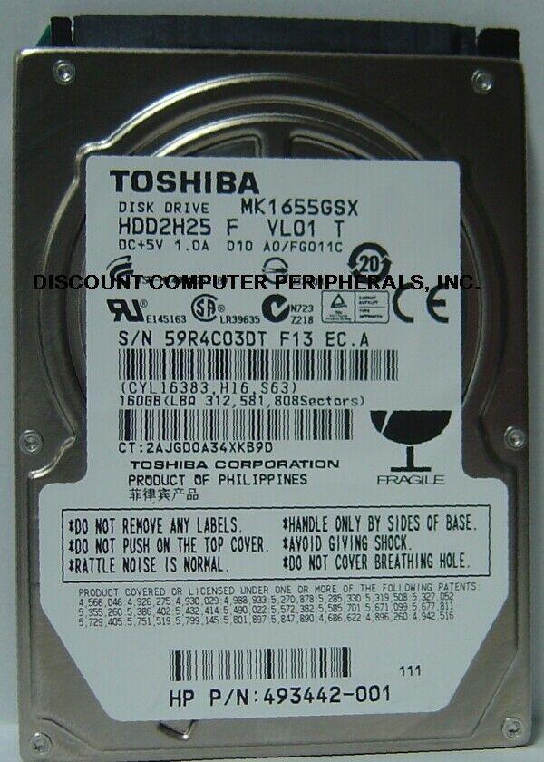 "New 160GB Toshiba MK1655GSX 2.5"" 9.5mm SATA Drive HDD2H25 Free USA Shipping"