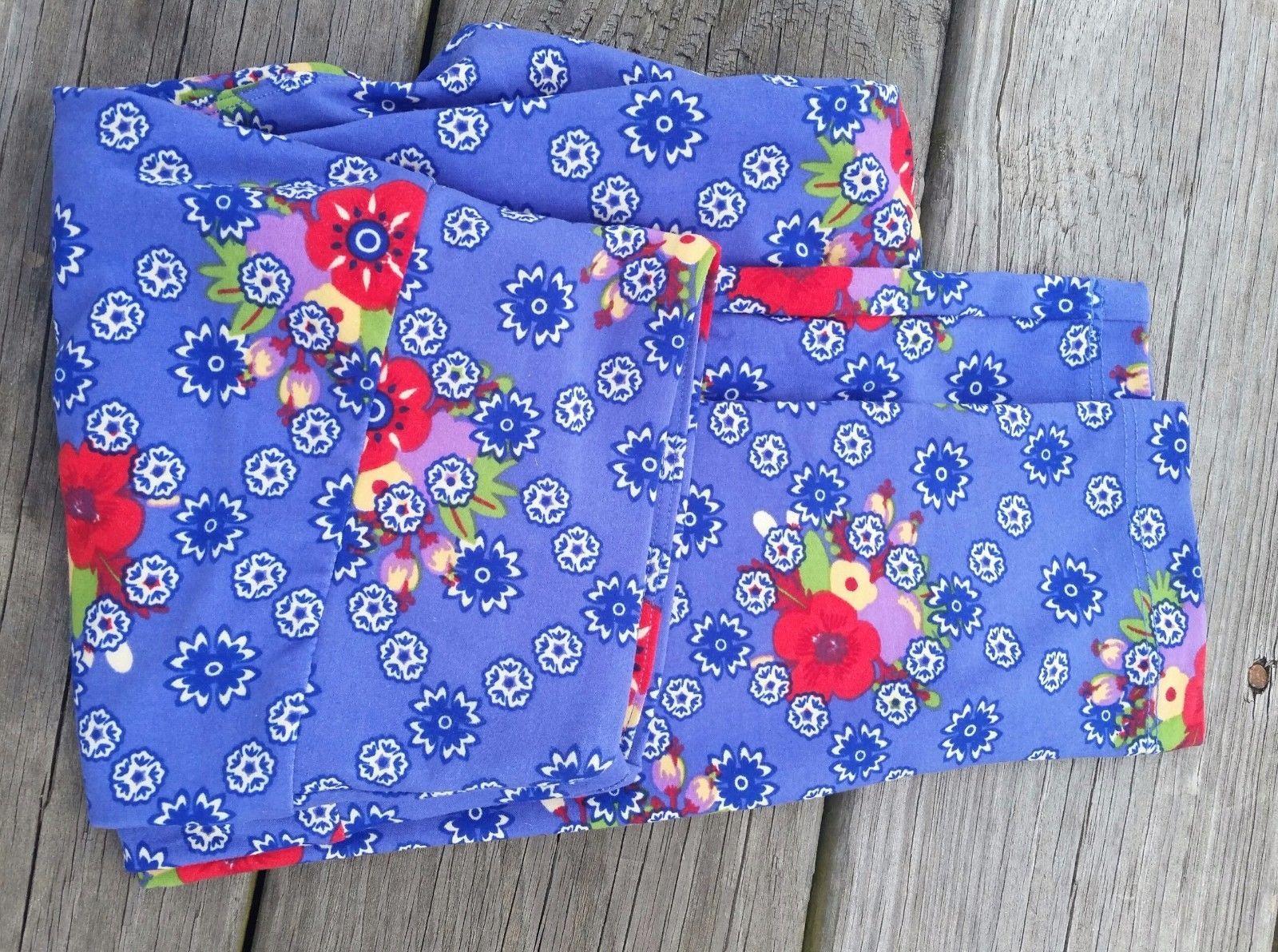 Lularoe OS One size Purpley Blue Floral Leggings Brand New So Cute!