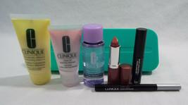 Clinique 7 Piece Set Bare Pop Lip Mascara DD+ Remover Cleanser Black Liner Pen - $20.26