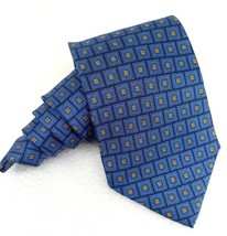Neck tie new wide blue and gold Coveri silk Italy wedding business geome... - $23.50