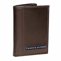 BRAND NEW TOMMY HILFIGER MEN'S LEATHER CREDIT CARD WALLET TRIFOLD BROWN 5676-2 image 1