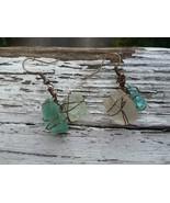 Shoreline Wonder earrings: Blue & white Estonian sea glass in bronze wir... - $39.00