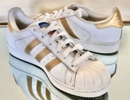 Adidas Original Superstar Low Youth White Gold Sneakers Size 6.5 M - $17.59