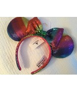 Disney Parks MINNIE MOUSE EARS Rainbow Pride Bow HEADBAND 1 SIZE NWOT - $49.49