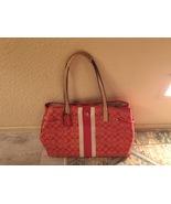 Vintage COACH Signature Stripe Red PVC Tote Bag & Tablet Case - $160.00