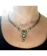 Authentic FABulous GEORGIAN Sterling silver Diamond PASTE NECKLACE - $3,040.00
