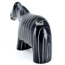 SMOLart Hand Carved Kisii Soapstone Black Pinstripe Zebra Sculpture Figurine image 3
