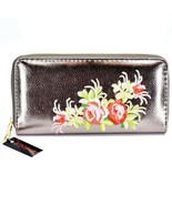 Bijorca Embroided Roses Flower Printed Metallic Vinyl Zip Around Clutch ... - $16.82