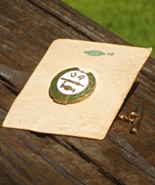UA Plumbers Trade Union Tie Tac, 25yrs Service, Green Enamel, Original Card - $25.00