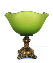 Smoked Glass Bowl Olive Green Scalloped Edge Metal Ornate Base 10.25 in ... - $57.42