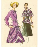 Vintage 70's Misses Kwik Sew 625 Retro Flared Skirt Blouse Sew Pattern 8-12 - $10.99