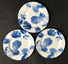 """Block ZEN 8"""" Side Plates White & Blue Blue Leaves - Set of 3  - $10.88"""